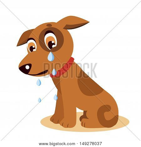 Sad Crying Dog Cartoon Vector Illustration. Dog With Tears. Crying Dog Emoji. Crying Dog Face.