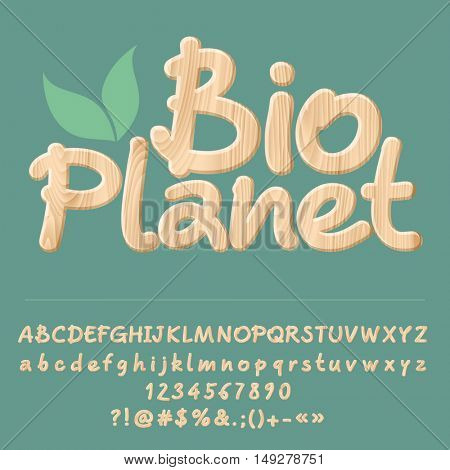 Vector wooden logotype card with set of letters, symbols and numbers.