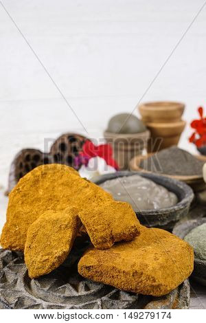 Ancient minerals - black green blue ochre clay powder and mud mask for spa beauty concept