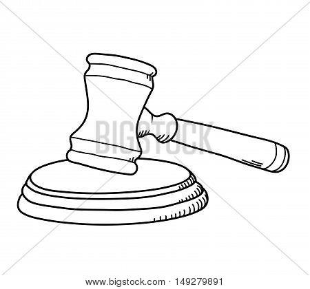 Gavel Law Hammer. A hand drawn vector illustration of a gavel.