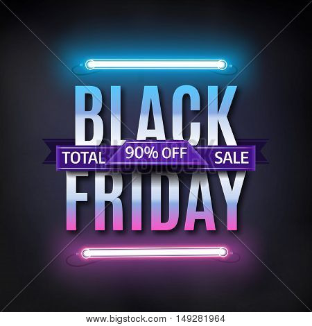 Black Friday sale inscription design template. Black friday sale banner. Glowing neon background. Vector illustration