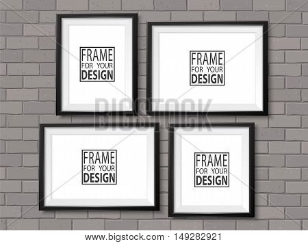 Frames gallery on grey brick wall. Black photoframes mock up. Empty framing for modern interior. Realistic vector illustration template for posters paintings drawings arts or photos.