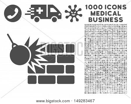 Gray Destruction icon with 1000 medical business vector design elements. Collection style is flat symbols, gray color, white background.