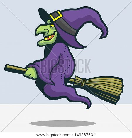 Pointy nose witch riding her broomstick drawing in vector format