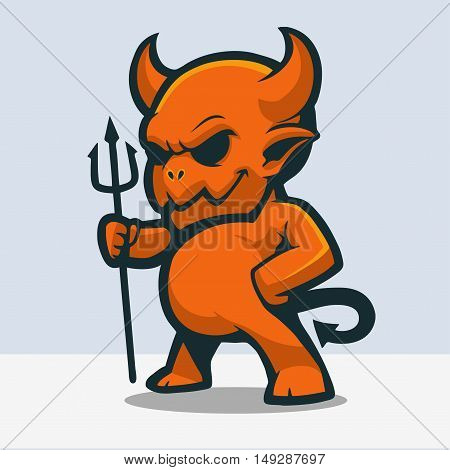 Cute Little Red Devil With Trident  Vector Illustration