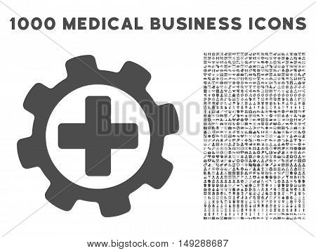 Gray Medical Settings icon with 1000 medical business vector pictographs. Design style is flat symbols, gray color, white background.