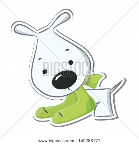 Funny puppy. Isolated on white. Sticker. Vector illustration