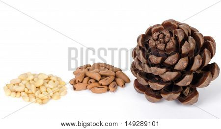 Stone pine cone with seeds and shelled nuts over white. Geometric pine cone, seeds and shelled nuts. Close up macro food photo from above on white background.