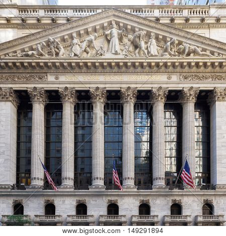 The New York Stock Exchange on Wall Street on Circa June, 2016 in New York, USA