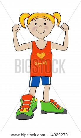 Strong sport girl in big sneakers showing muscles cartoon vector illustration