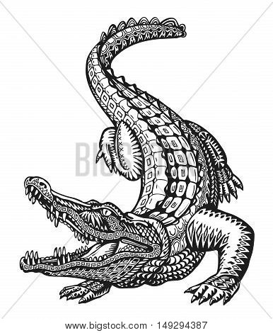Crocodile. Hand-drawn ethnic patterns. Alligator, animal sketch Vector illustration