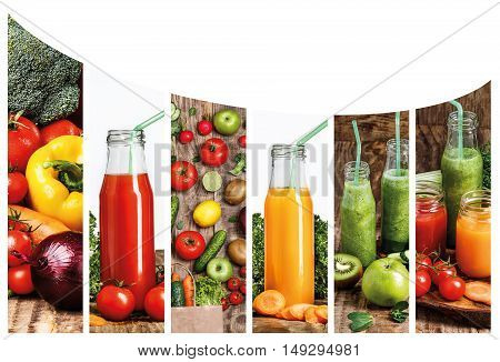 The collage fron images of bottles with fresh vegetable and kiwi fruit juices on wooden table. Detox diet.