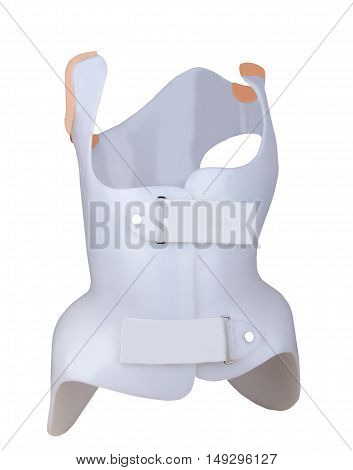 Corset Chenot. Corrective technical device for the correction and restoration of function of the spine when the disease Scoliosis. Isolated on white front view.