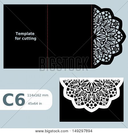 C6 paper openwork greeting card wedding invitation template for cutting lace invitation object isolated background laser cut template vector illustration poster