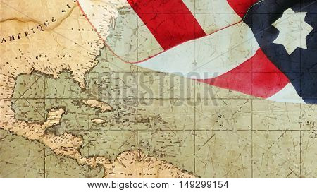 Columbus Day. Usa Flag and Nautical Chart