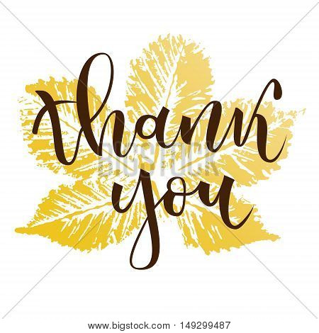 Thank you hand lettering greeting with fall chestnut leaf on white background