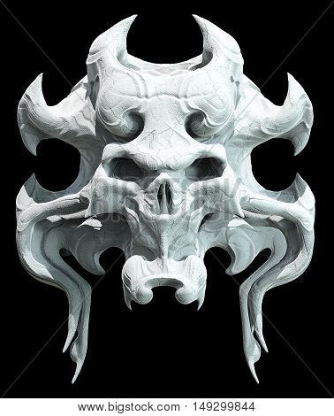 Monster skull design on a black background for Halloween. 3D illustration