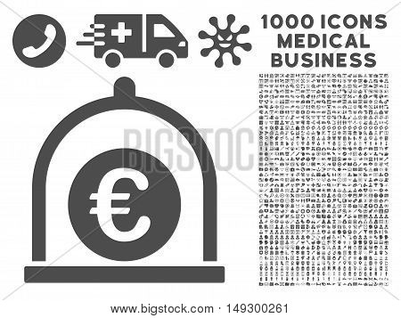 Gray Euro Standard icon with 1000 medical business glyph pictographs. Design style is flat symbols, gray color, white background.