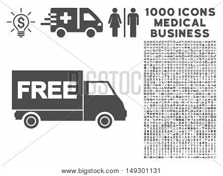 Gray Free Shipment icon with 1000 medical business glyph pictograms. Set style is flat symbols, gray color, white background.
