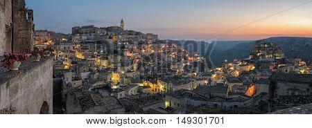Matera (Basilicata Italy) Sasso Caveoso at sunrise
