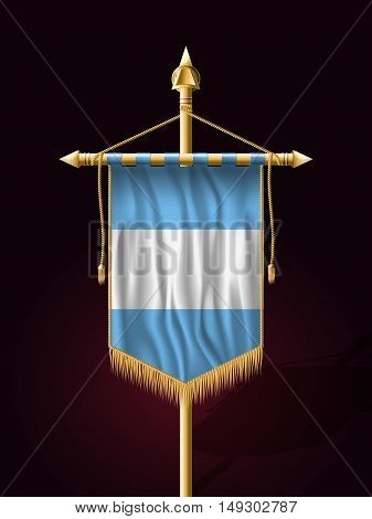 Flag Of Guatemala. Festive Banner Vertical Flag With Flagpole