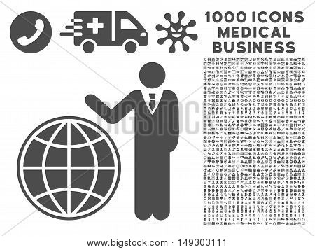 Gray Planetary Manager icon with 1000 medical business glyph pictographs. Collection style is flat symbols, gray color, white background.