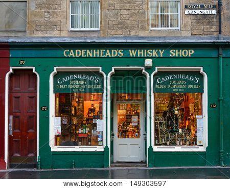 EDINBURGH, SCOTLAND - CIRCA NOVEMBER 2012: Cadenhead's whisky shop facade on Cannongate, Royal Mile