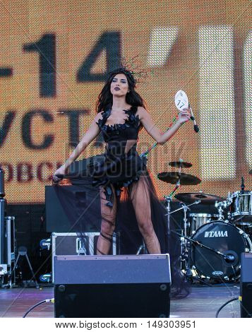 St. Petersburg, Russia - 12 August, The girl on the scene,12 August 2016. Beauty contest