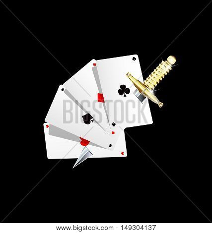 background dark and jewel silver golden knife with cards