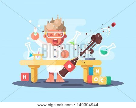 Young chemist characters makes experience and test in lab. Vector illustration