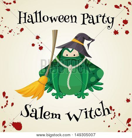 Halloween green toads fashion costume outfit. Salem witch halloween party background. Cartoon style vector illustration isolated on white background