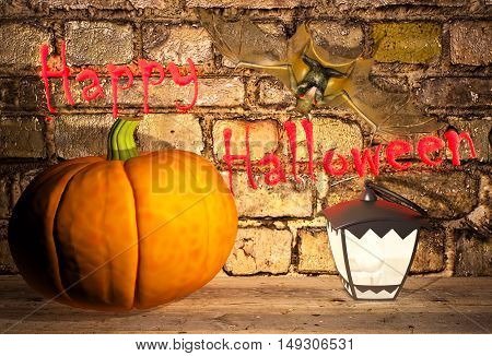 Happy Halloween! Pumpkins and a lamp are located on the shelf. 3D illustration