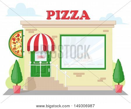 Facade pizzeria with a signboard pizza awning and symbol in shopwindow. Abstract image in a flat design. Concept for banner or brochure. Vector illustration isolated on white background