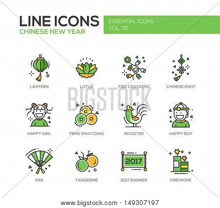 Chinese New Year - set of modern vector line design icons and pictograms. Lantern, lotus, fire crackers, chinese knot, happy girl, boy, feng shui coins, rooster, fan, tangerine, banner, firework
