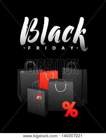 Black Friday Sale Shopping Bag. Promo Abstract Calligraphic Vector Illustration for your business artwork. Black Friday Sale handmade lettering, calligraphy with light background for logo, banners, labels