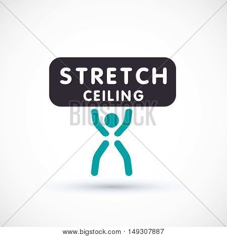 Stretch ceiling and worker logo concept symbol suspended ceiling