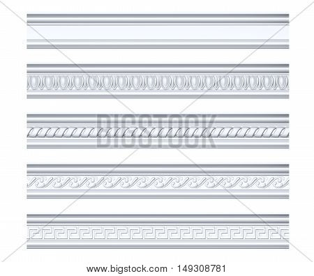 Collection of different classical cornices isolated on white, 3d rendering