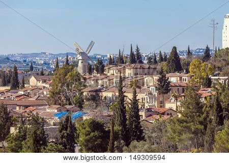 View of Famous Windmill in Jerusalem Israel