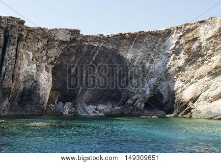 Maltese coastline. Caves in Lapsi are, Malta, Europe