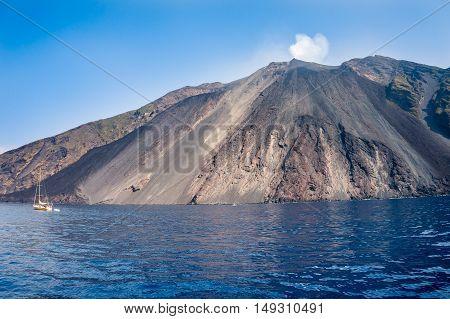 europe, italy, sicily, messina, stromboli volcano activity at eolie island