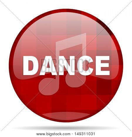 dance music red round glossy modern design web icon