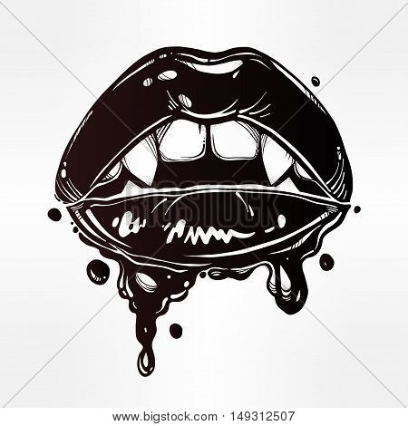 Sexy female vampire lips with fangs and dripping blood or make up. Fatal biting lips. Pop art comic art print in vintage flash tattoo style. Isolated vector illustration. 1990s inspired art.