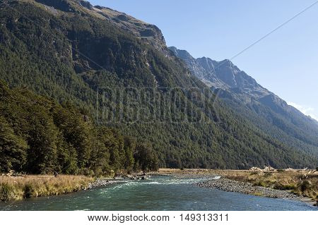 Mackay Creek, Fiordland National Park, Northern Fiordland, Overlooking The Eglinton Valley, On Milfo