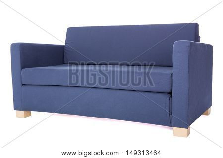 Modern Two-seat Grey Sofa Isolated On White