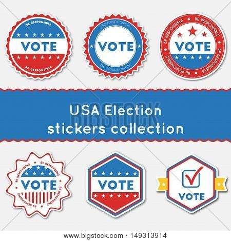 Usa Election Stickers Collection. Buttons Set For Usa Presidential Elections 2016. Collection Of Blu