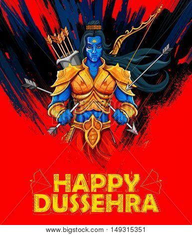 illustration of Lord Rama with arrow in Dussehra Navratri festival of India poster