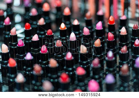 Beautiful Big Multicolor Professional Makeup Set Of Many Different Colorful Lipsticks