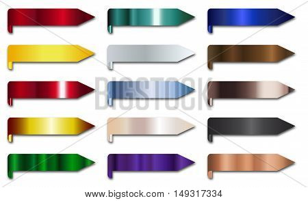 Metal multicolored arrows over a white background for your web design