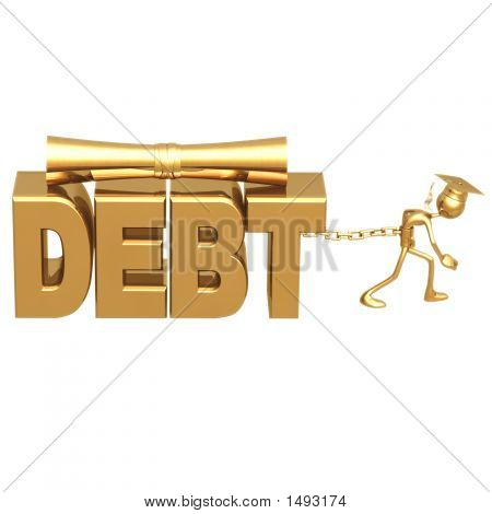 Golden Grad Chained To Education Debt Graduation Concept