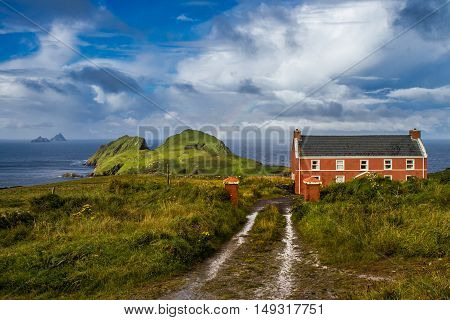 View on Puffin Island and skelling, Ireland, Conte of Kerry